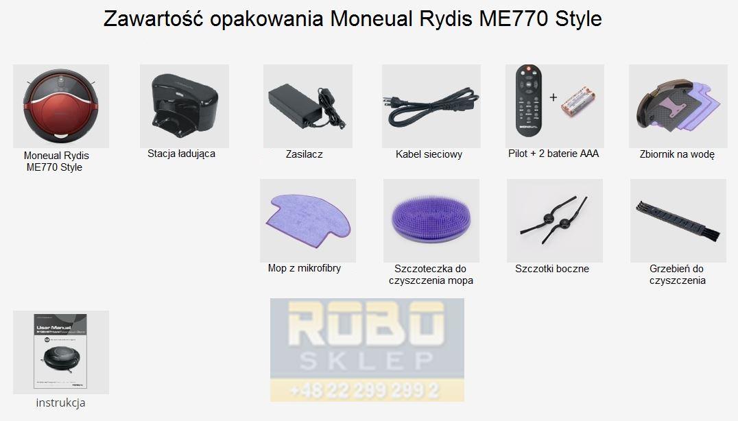 Zawartość zestawu Moneual Rydis ME770 Style